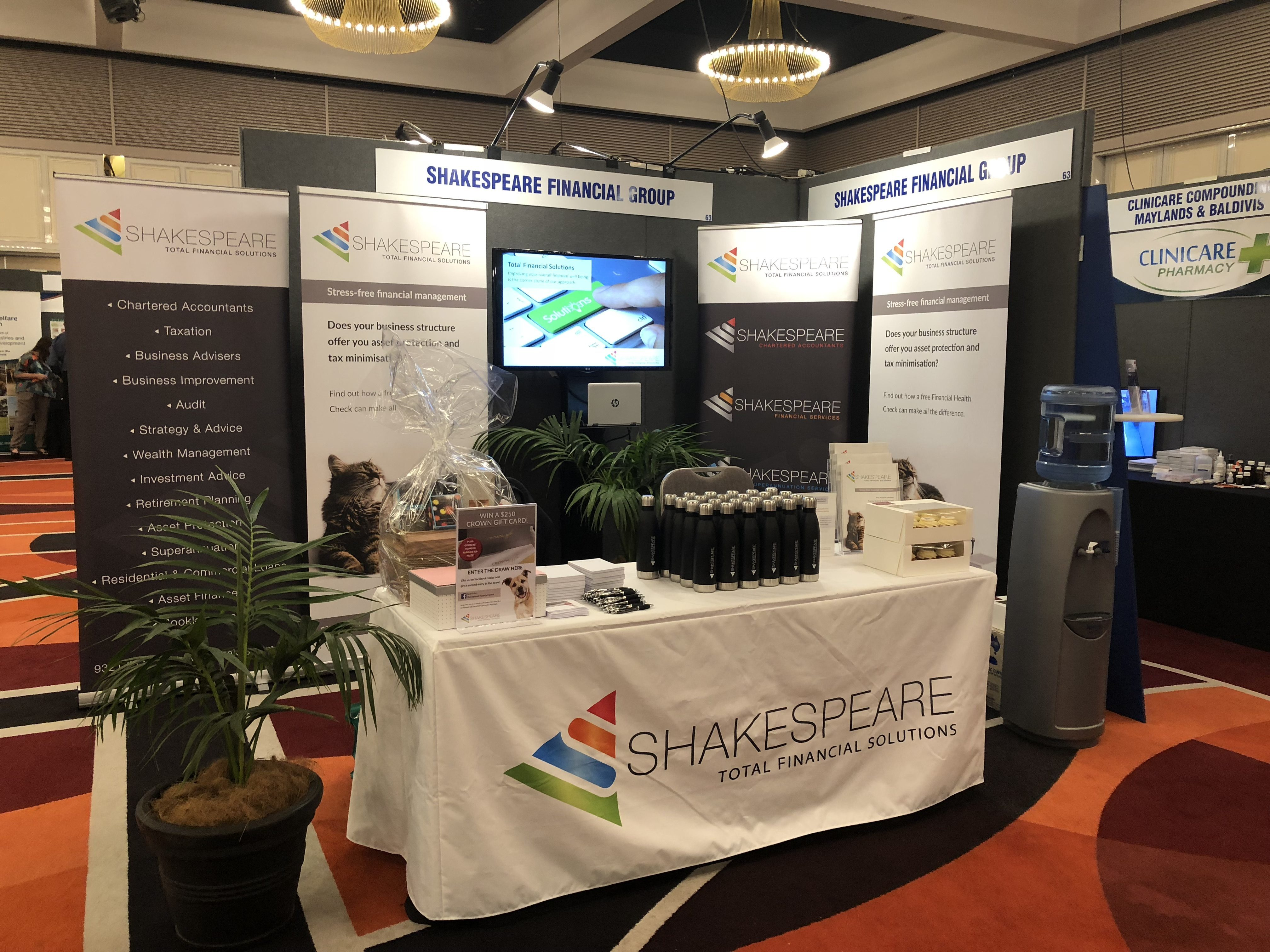 Shakespeare Financial Group exhibition space at Australian Veterinary Association WA Division State Conference 2018