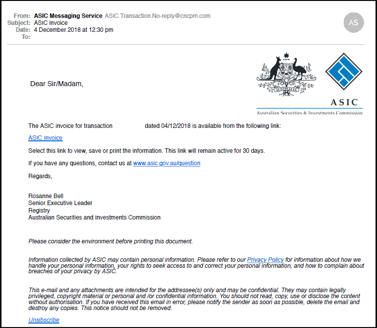 ASIC email scam